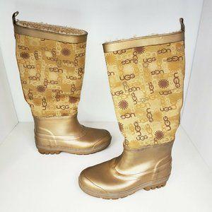 UGG S/N 5700 Wallingford Gold Logo Rain Boots Tall
